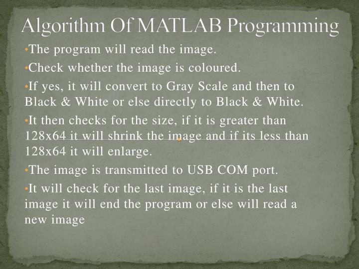 Algorithm Of MATLAB Programming