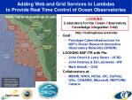 adding web and grid services to lambdas to provide real time control of ocean observatories