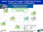 barrier average throughput of nasa data products to end user is only 50 megabits s