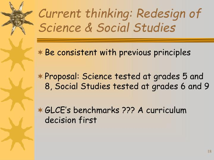 Current thinking: Redesign of Science & Social Studies