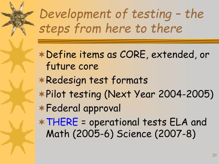 Development of testing – the steps from here to there