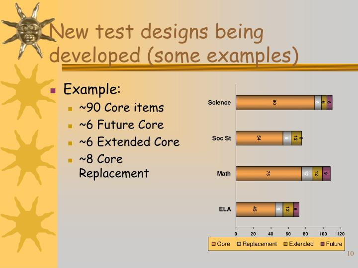 New test designs being developed (some examples)