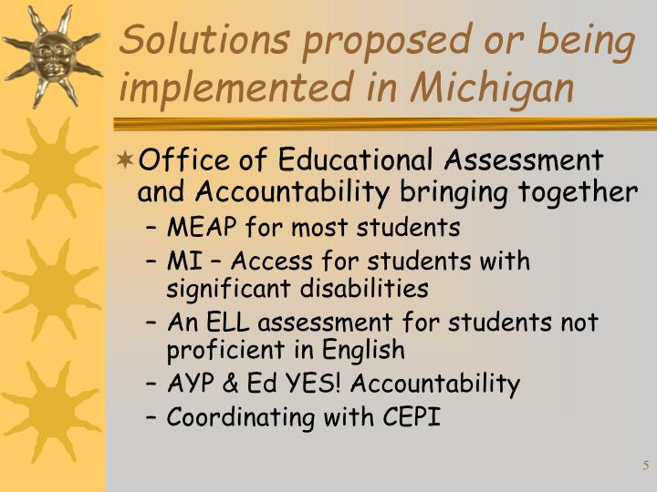 Solutions proposed or being implemented in Michigan