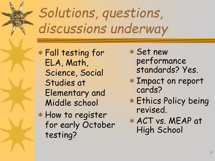 Fall testing for ELA, Math, Science, Social Studies at Elementary and Middle school