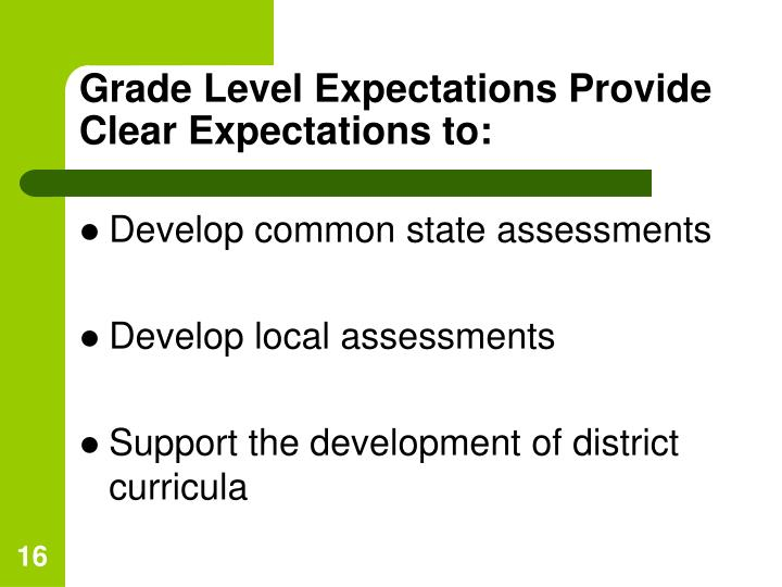 Grade Level Expectations Provide Clear Expectations to: