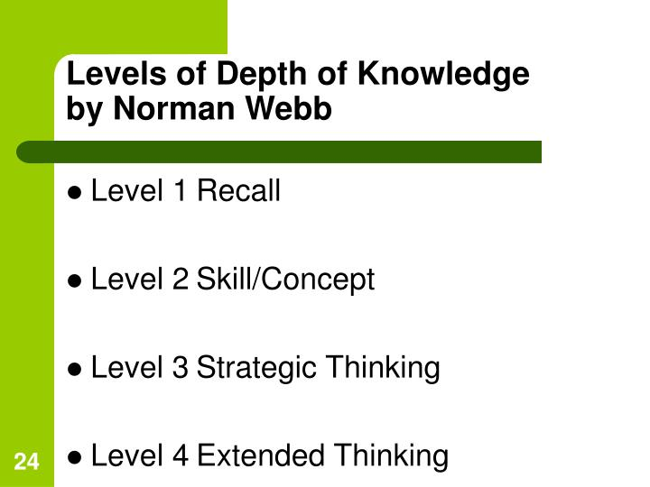 Levels of Depth of Knowledge
