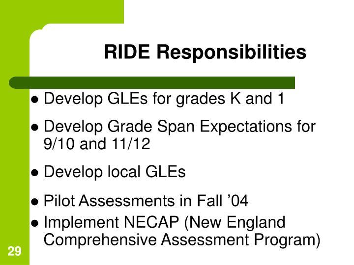 RIDE Responsibilities