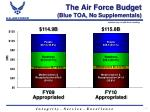 the air force budget blue toa no supplementals
