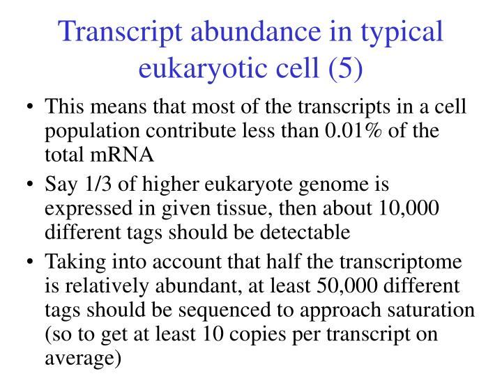 Transcript abundance in typical eukaryotic cell (5)