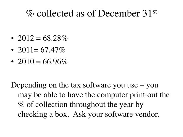 % collected as of December 31