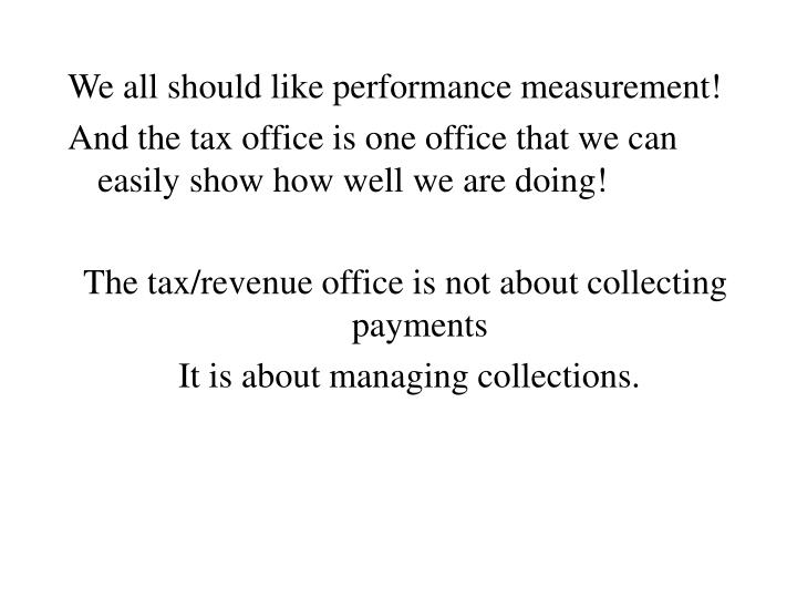 We all should like performance measurement!
