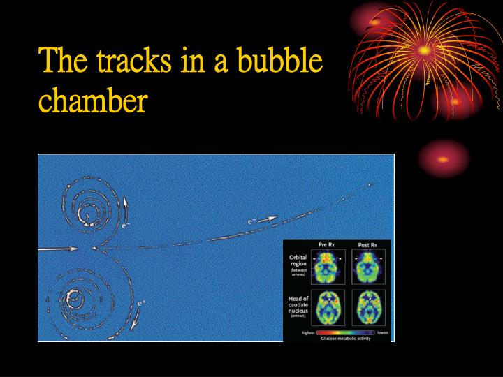 The tracks in a bubble chamber