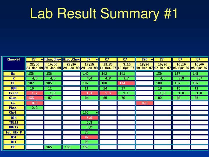 Lab Result Summary #1