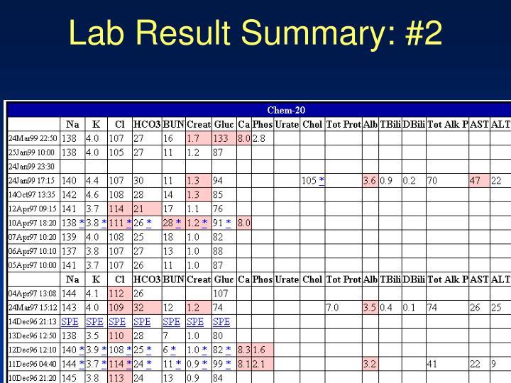 Lab Result Summary: #2