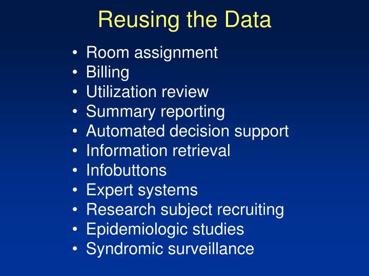 Reusing the data