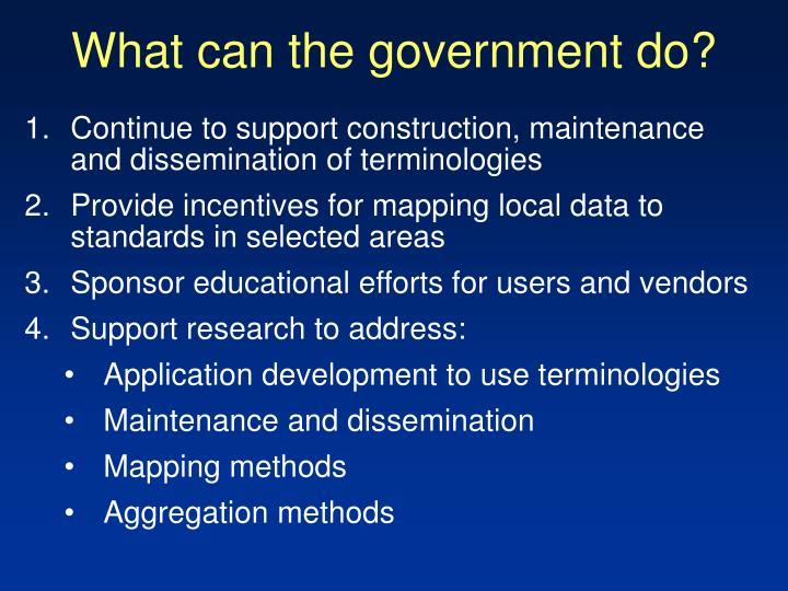 What can the government do?