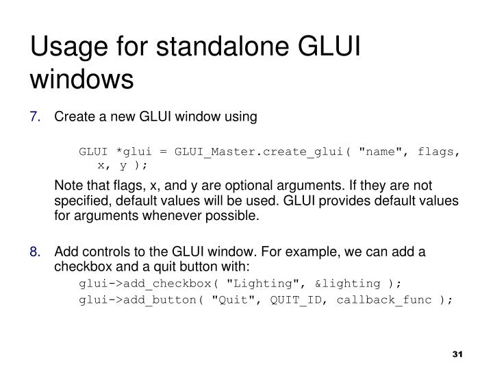 Usage for standalone GLUI windows