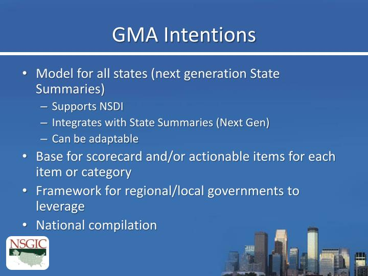 GMA Intentions
