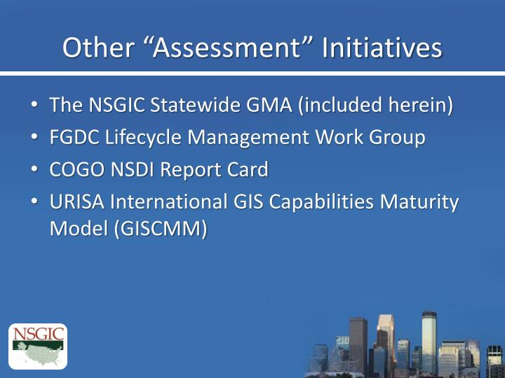 """Other """"Assessment"""" Initiatives"""