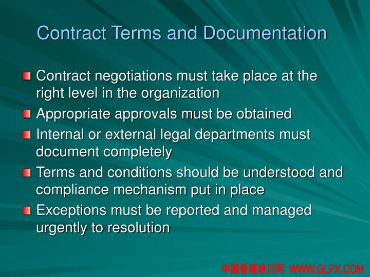 Contract Terms and Documentation