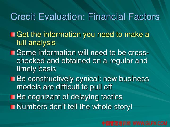Credit Evaluation: Financial Factors