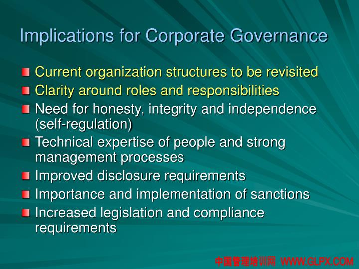 Implications for Corporate Governance