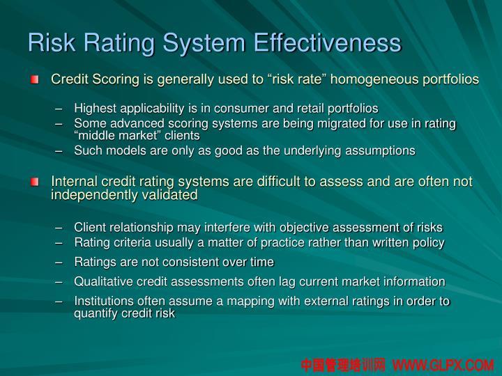 Risk Rating System Effectiveness