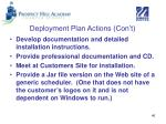 deployment plan actions con t