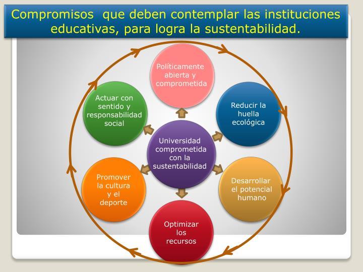 Compromisos  que deben contemplar las instituciones educativas, para logra la sustentabilidad.