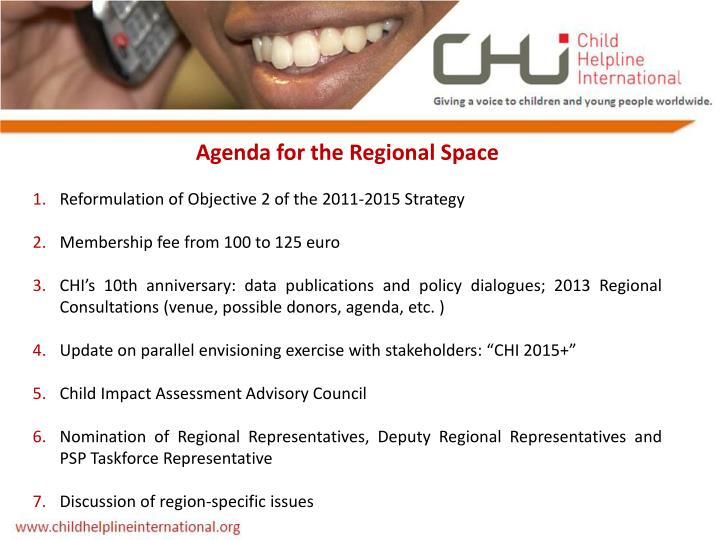 Agenda for the Regional Space