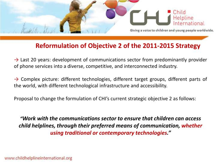 Reformulation of Objective 2 of the 2011-2015 Strategy