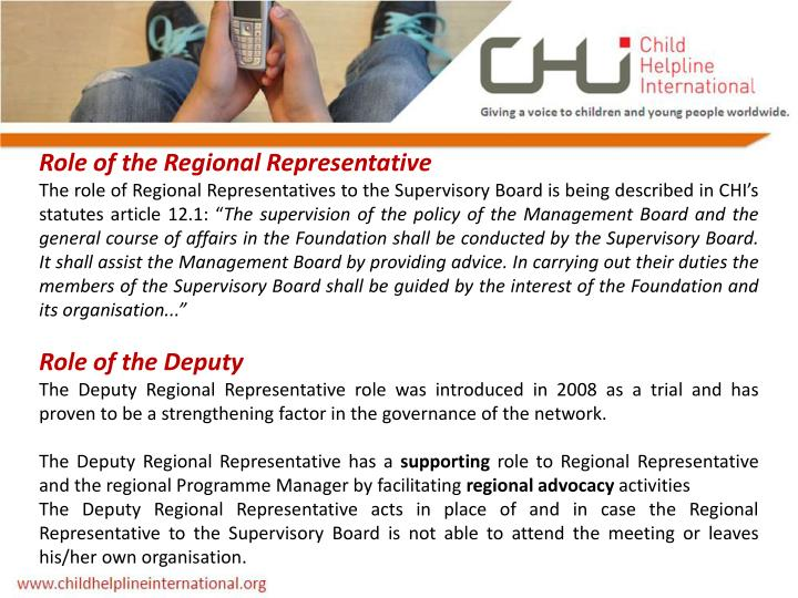 Role of the Regional Representative
