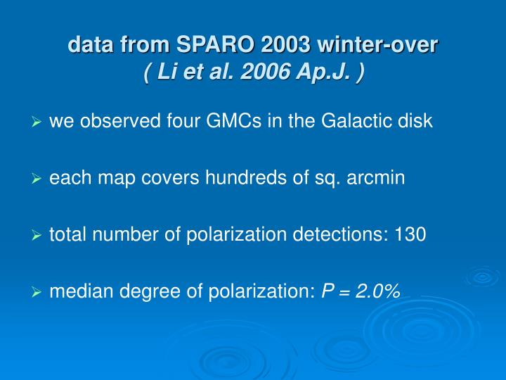data from SPARO 2003 winter-over
