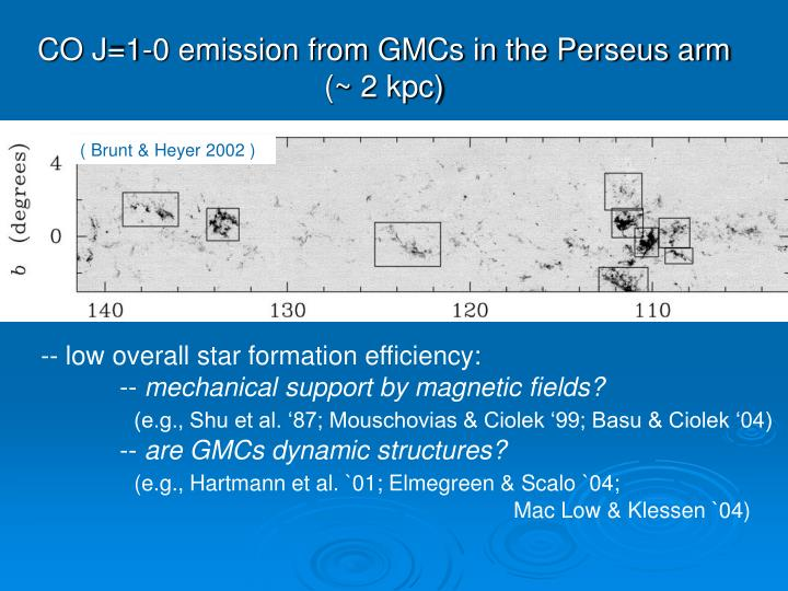 CO J=1-0 emission from GMCs in the Perseus arm
