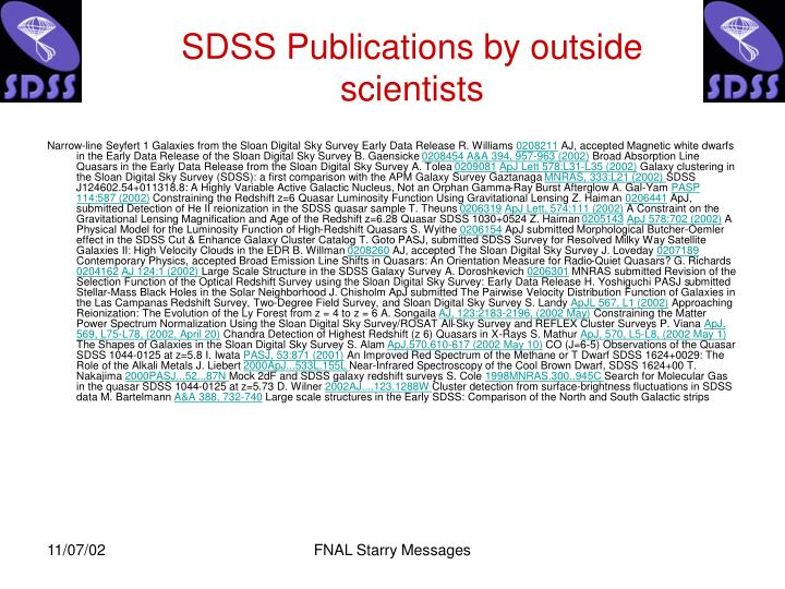 SDSS Publications by outside scientists