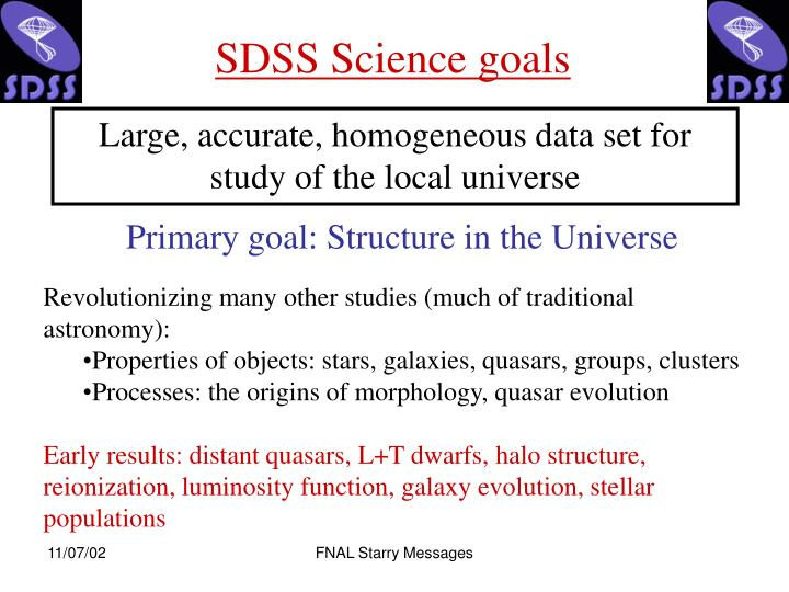 SDSS Science goals