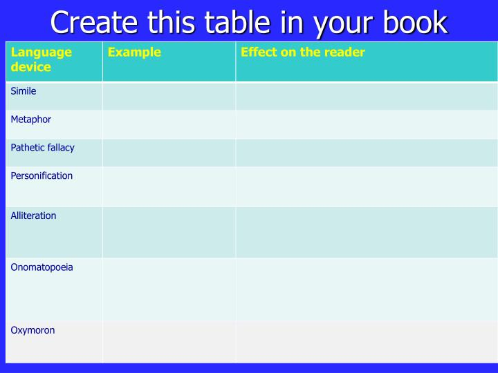 Create this table in your book