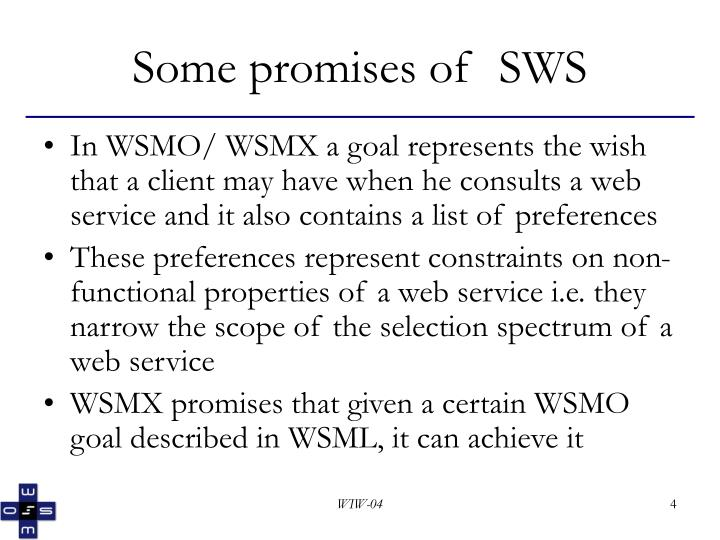 Some promises of  SWS
