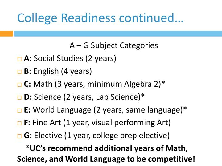 College Readiness continued…