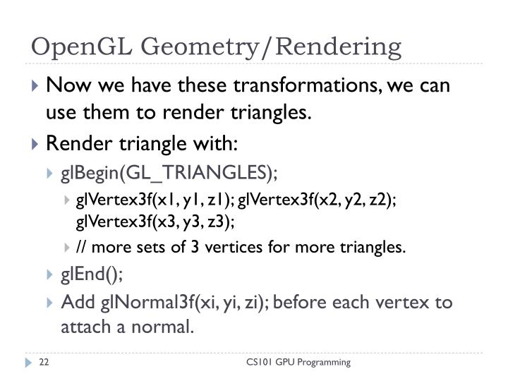 OpenGL Geometry/Rendering