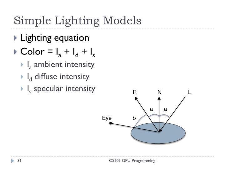 Simple Lighting Models