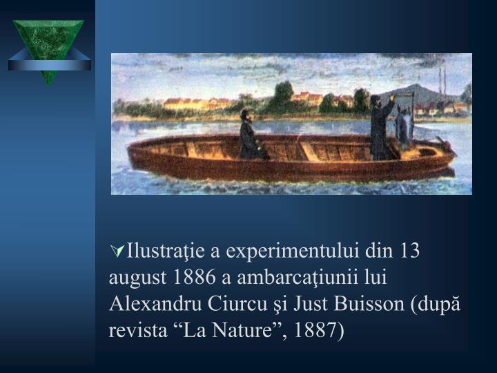 """Ilustraţie a experimentului din 13 august 1886 a ambarcaţiunii lui Alexandru Ciurcu şi Just Buisson (după revista """"La Nature"""", 1887)"""
