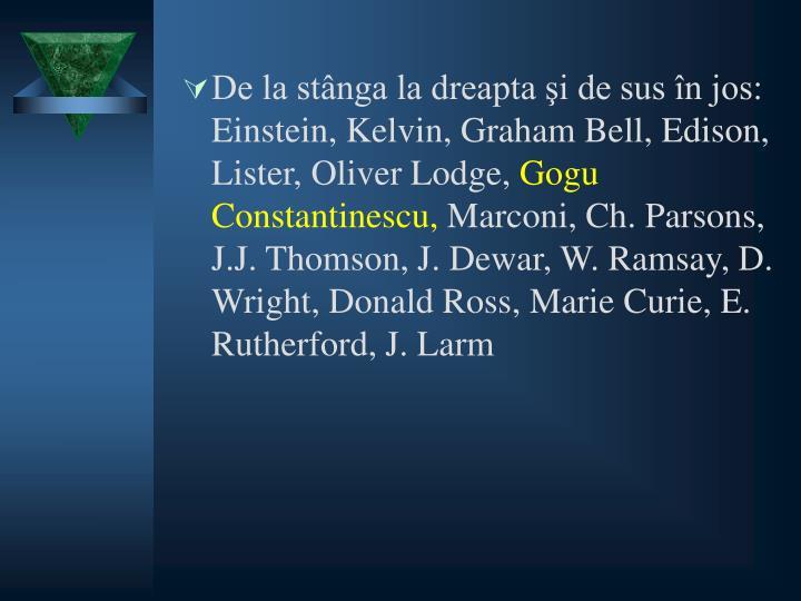 De la stânga la dreapta şi de sus în jos: Einstein, Kelvin, Graham Bell, Edison, Lister, Oliver Lodge,