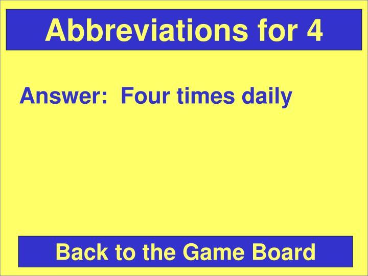 Abbreviations for 4