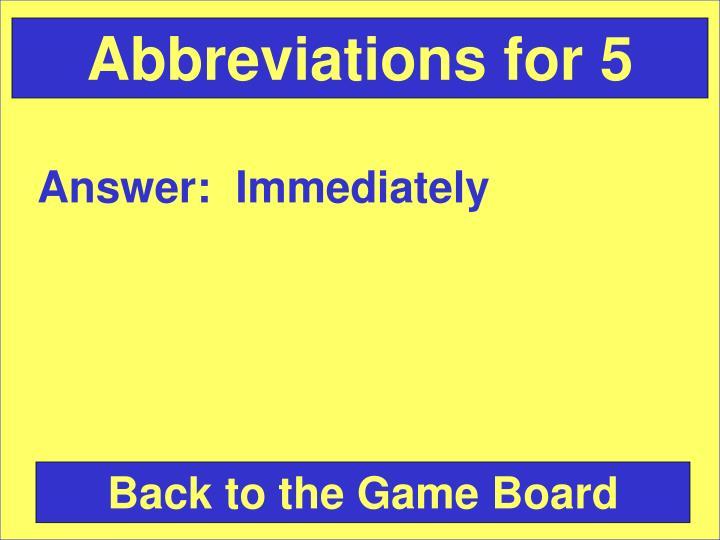 Abbreviations for 5