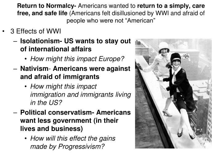 Return to Normalcy-