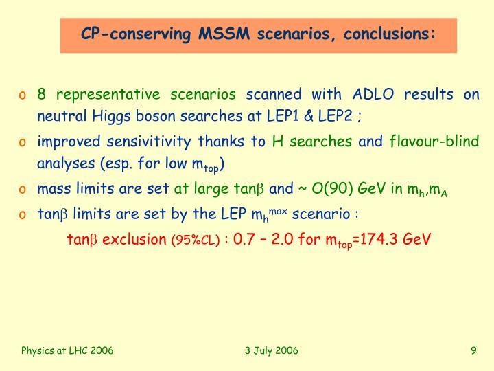 CP-conserving MSSM scenarios, conclusions: