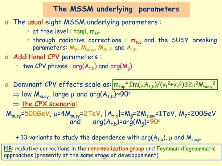 The MSSM underlying  parameters
