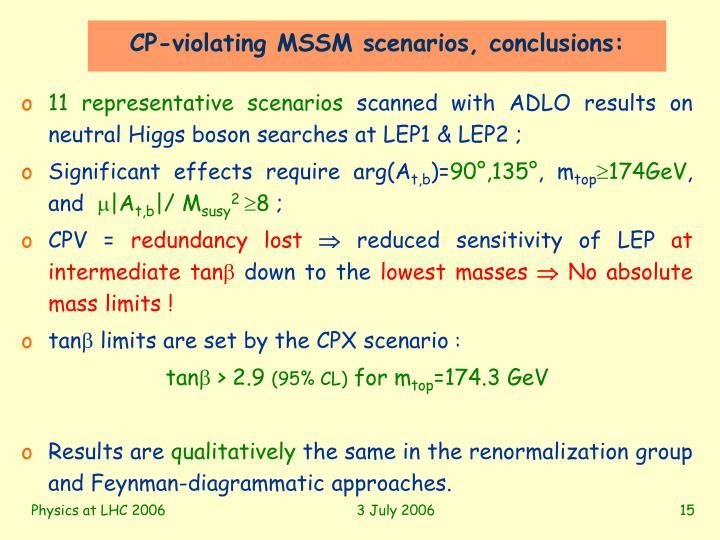 CP-violating MSSM scenarios, conclusions: