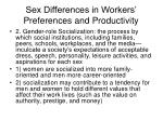 sex differences in workers preferences and productivity